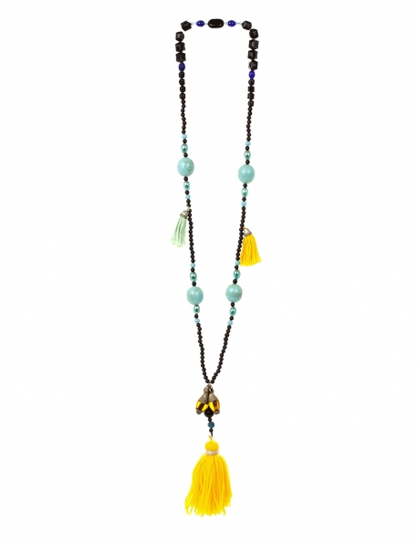 SAUTOIR LOT OF LOVE TURQUOISE ET JAUNE PONPOMS