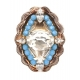 BAGUE REMINESCENCE PERLES BLEUES GROS DIAMANT