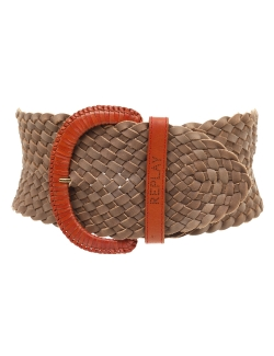 CEINTURE REPLAY TAUPE ET ORANGE CUIR TRESSÉ LARGE