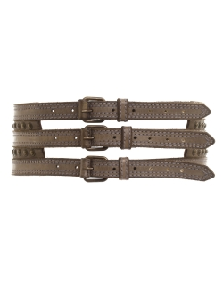 CEINTURE ALL SAINTS GRISE LARGE 3 BOUCLES T.M.