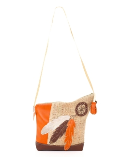 SAC KERDEL ORANGE MARRON PLUME BADOUILLIERE