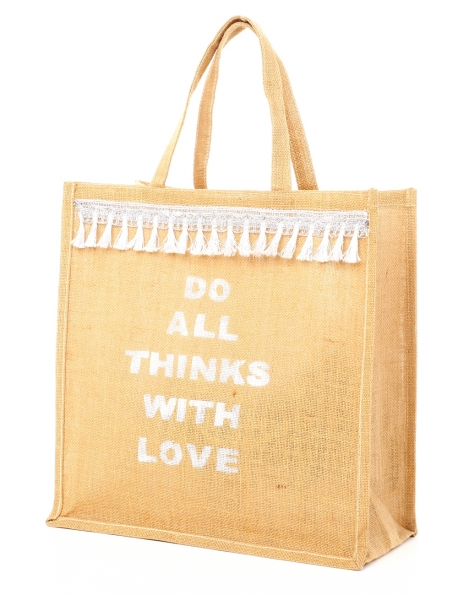 CABAS LOT OF LOVE JUTE POMPONS ARGENTÉ DO ALL THINGS WITH LOVE