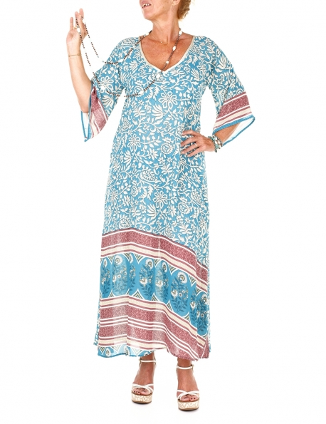 ROBE LOT OF LOVE GYPSY TURQUOISE BEIGE PARME LONGUE SOIE INDIENNE T.L - XL