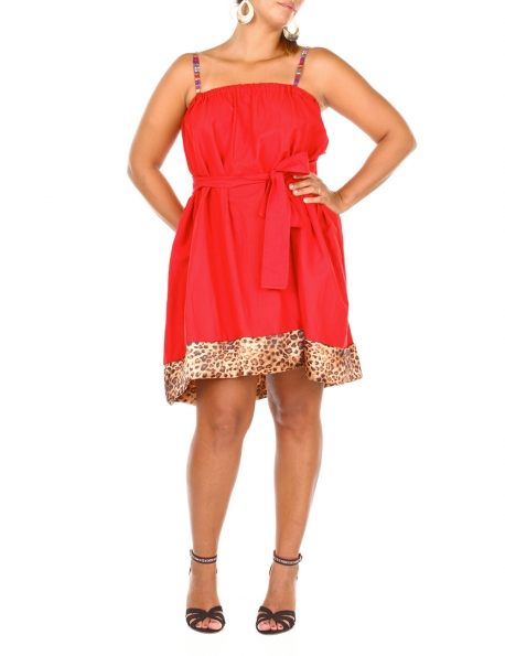 ROBE TUNIQUE CAP COLOR MODE ROUGE LEOPARD BRETELLES VOLANTS T.U