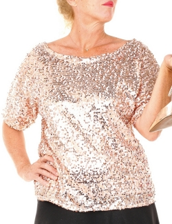 TOP ROSE A SEQUINS MANCHES COURTES  T.M-L