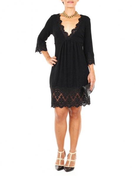 ROBE JUST M NOIRE BRODERIE MANCHES 3/4 T.XS