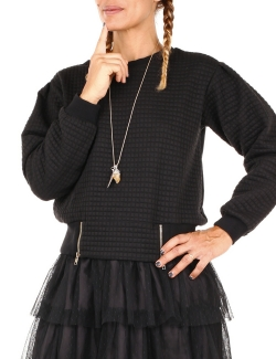 SWEAT OSLEY NOIR MATELLASE VOILE DOS ZIP T.S-M