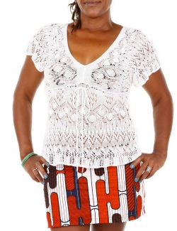 TOP RED HERRING BLANC CROCHET MANCHES COURTES T.S