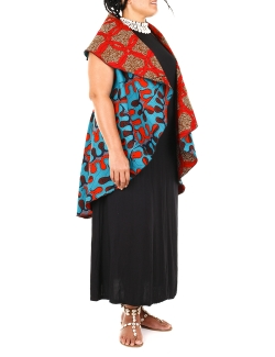 CAPE MULTI-POSES  RICOTON WAX  TURQUOISE  ROUGE réversible BORDEAU CERCLESTU