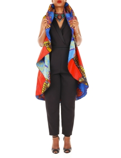 CAPE RICOTON MULTI-POSES WAX  BLEU ORANGE réversible ROUGE KAKITU