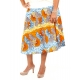 JUPE LOT OF LOVE WAX ORANGE BLEU JAUNE MIDI T.XL