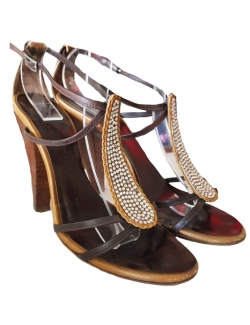 CHAUSSURES GIUSEPPE ZANOTTI MARRON CUIR SANDALES STRASS T.37