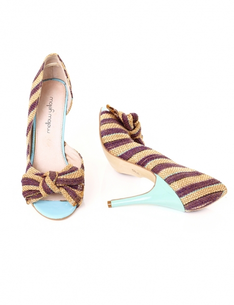 CHAUSSURE MELLOW YELLOW INT CUIR TALON TURQUOISE VIOLET BEIGE T37
